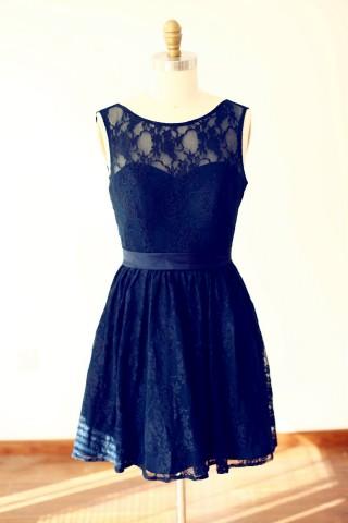 Navy Blue Lace V Back Short Knee Length Bridesmaid Dress
