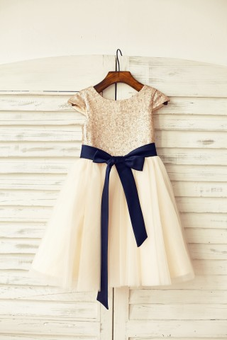 Cap Sleeves Blush Pink  Sequin Ivory Tulle Flower Girl Dress with navy blue belt