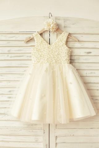 Princess V Neck Champagne Tulle Pearl Beaded Flower Girl Dress
