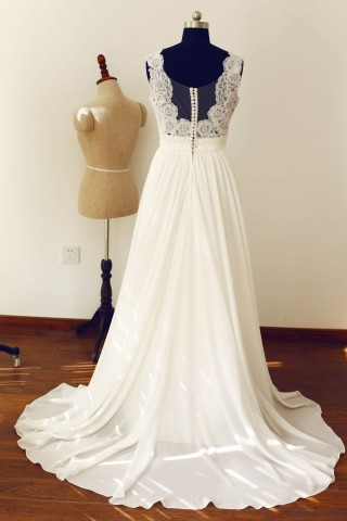 Deep V Neck Ivory Lace Chiffon Wedding Dress