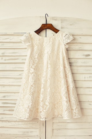 Cap Sleeve Ivory Lace Champagne Lining Flower Girl Dress