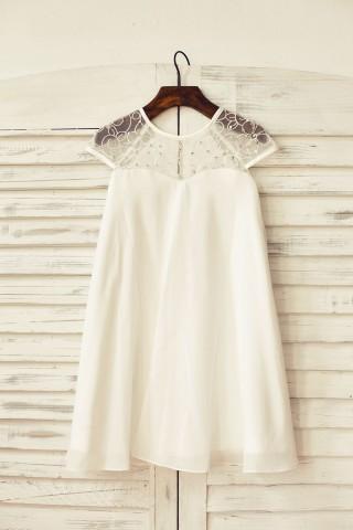 Sheer Neck Ivory Chiffon Flower Girl Dress