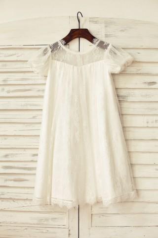 Short Puffy Sleeve Ivory Eyelash Lace Flower Girl Dress
