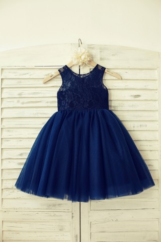 Sheer Neck Navy Blue Lace Tulle Flower Girl Dress