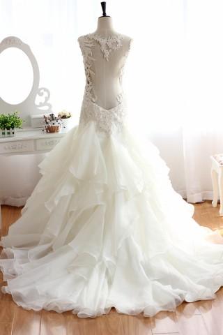Backless Lace Organza Beaded Ruffle Wedding Dress