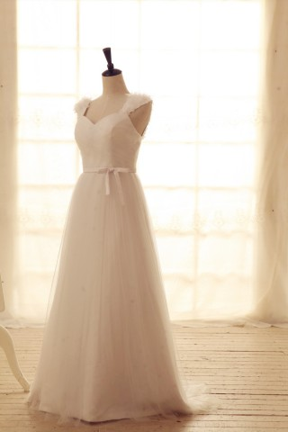 Tulle Wedding Dress Sweetheart Neck with flower Cap Sleeves Bridal Gown