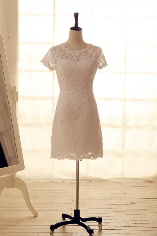 Vintage Inspired French Corded Lace Wedding  Dress Short Dress Knee Length Dress with Cap Sleeves