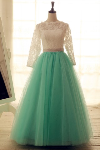 Lace Tulle Wedding Dress Long Lace Sleeves Blue Tulle Ball Gown Dress
