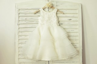 Ivory Organza Lace Appliqué Flower Girl Dress