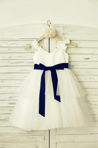 V Neck Ivory Satin Tulle Flower Girl Dress with navy blue sash