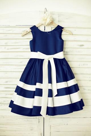 Navy Blue Satin Ivory Striped Flower Girl Dress