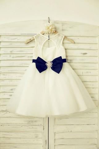 Ivory Lace Tulle Flower Girl Dress with keyhole back/Navy Blue Belt