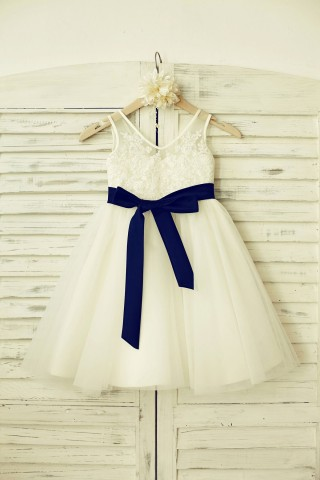 V Neck Ivory Lace Tulle Flower Girl Dress with navy blue sash