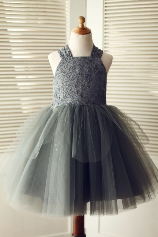 Backless Gray Lace Tulle Flower Girl Dress with Big Bow