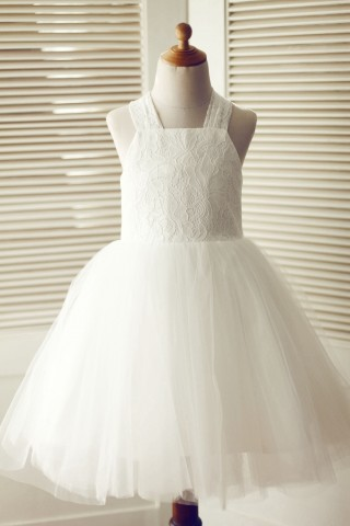 Backless Ivory Lace Tulle Wedding Flower Girl Dress with Big Bow