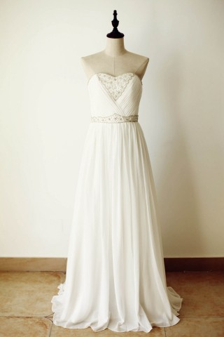Strapless Sweetheart Ivory Chiffon Beaded Long Bridesmaid Dress