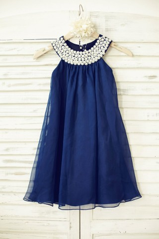 Boho Beach Navy Blue Chiffon Flower Girl Dress with pearl beaded neck