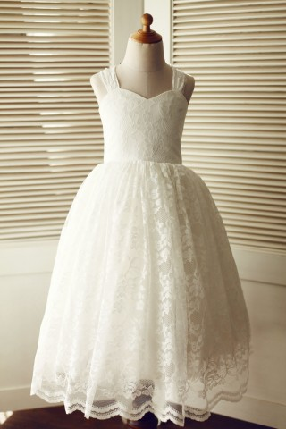 Backless Ivory Lace Wedding Flower Girl Dress