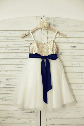 Thin Straps Champagne Sequin Tulle Flower Girl Dress with navy blue belt