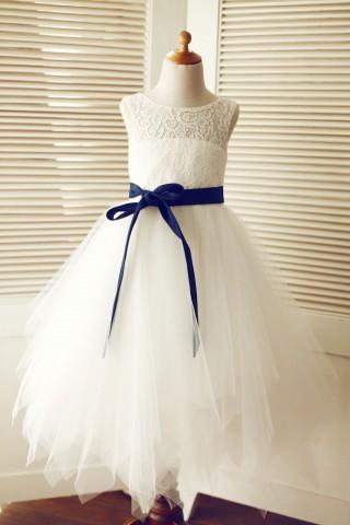 Keyhole Ivory Lace Tulle Wedding Flower Girl Dress/Navy Blue Sash