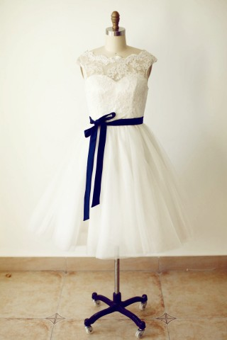 Lace Tulle Short Bridesmaid Dress with navy blue sash