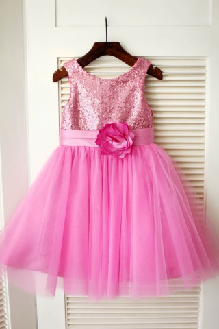 Hot Pink Sequin Tulle Wedding Flower Girl Dress