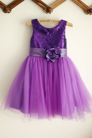 Ivory/Purple/Gold Sequin Tulle Flower Girl Dress with matching sash/flower