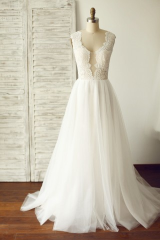 Sheer Illusion Lace Plunging Neck Tulle Wedding Dress