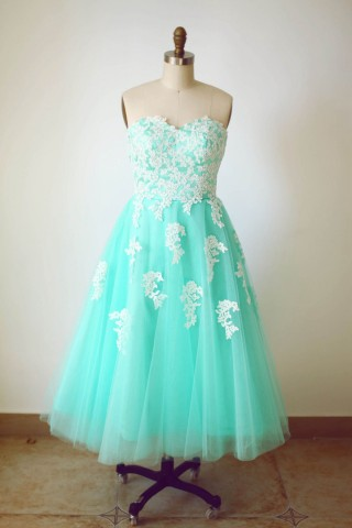 Strapless Sweetheart Mint Blue Tulle Lace Tea Length Short Wedding  Dress