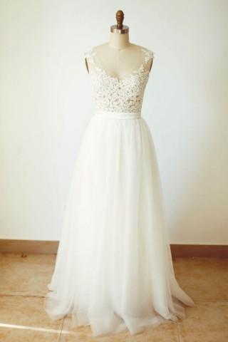 Sheer Tulle Lace Tulle Wedding Dress V Back Bridal Gown
