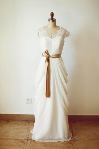 Ivory Lace Chiffon Cap Sleeves V Back Wedding Dress with champagne sash