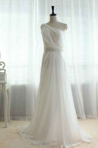 One shoulder Chiffon Sheer Tulle Back with lace Beading Wedding dress/Bridesmaid dress/Prom Dress