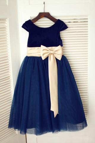Navy Blue Velvet Tulle Cap Sleeve Wedding Flower Girl Dress with Champagne Sash\Bow