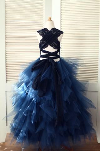 Backless Navy Blue Lace Ruffle Tulle Skirt Flower Girl Dress