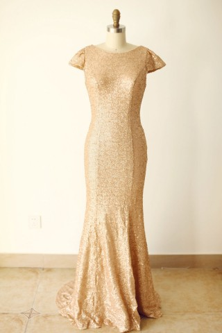 Cap Sleeves Champagne Gold Sequin V Back Long Wedding Bridesmaid Dress
