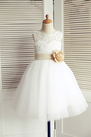 Ivory Lace Tulle Wedding Flower Girl Dress with Champagne Belt/Bow