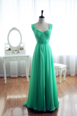 Blue Chiffon Bridesmaid Dress Prom Dress Open Back Party Dress