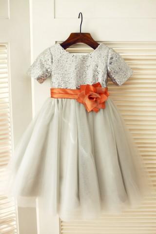 Short Sleeves Silver Sequin Gray Tulle Wedding Flower Girl Dress