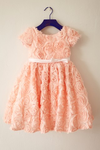 Short Sleeves Dusty Rose/Peach pink Rosette Flower Girl Dress