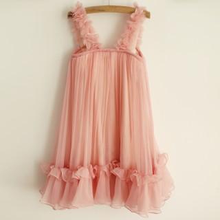 Blush Pink Chiffon Straps Wedding Flower Girl Dress