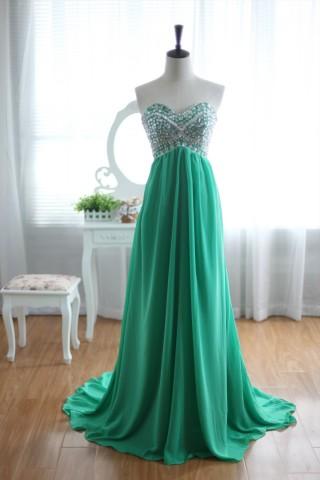 Green Chiffon Bridesmaid Dress Prom Dress Strapless  Sweetheart Beaded Top