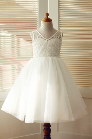 V Back Ivory Lace Tulle Wedding Flower Girl Dress