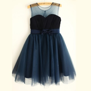 Navy Blue Chiffon Tulle Wedding Flower Girl Dress with Belt