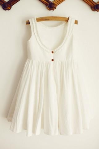 U Back Ivory Cotton Ruffle Neckline Flower Girl Dress
