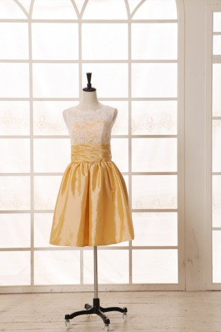 Vintage Ivory Lace Yellow Taffeta Bridesmaid Dress knee Short Length