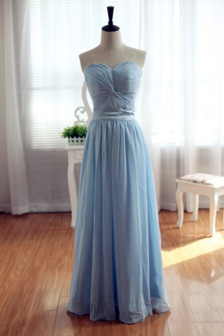 Light Blue Chiffon Bridesmaid Dress Prom Dress Strapless Sweetheart Dress