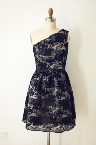 One Shoulder Black Lace Short Knee Length Wedding Bridesmaid Dress