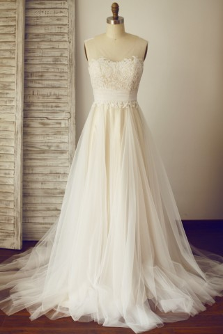Sheer Illusion Lace Tulle Wedding Dress with Champagne Lining