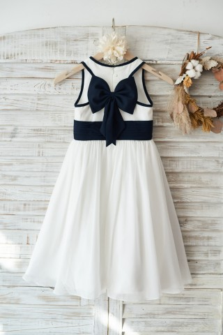 Ivory Chiffon Wedding Flower Girl Dress Junior Bridesmaid Dress with Navy Blue Bow