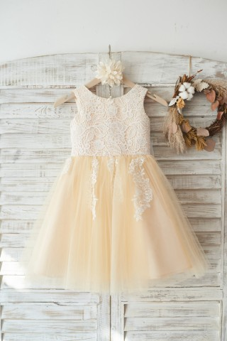 Ivory Lace Champagne Tulle Wedding Flower Girl Dress with Big Bow